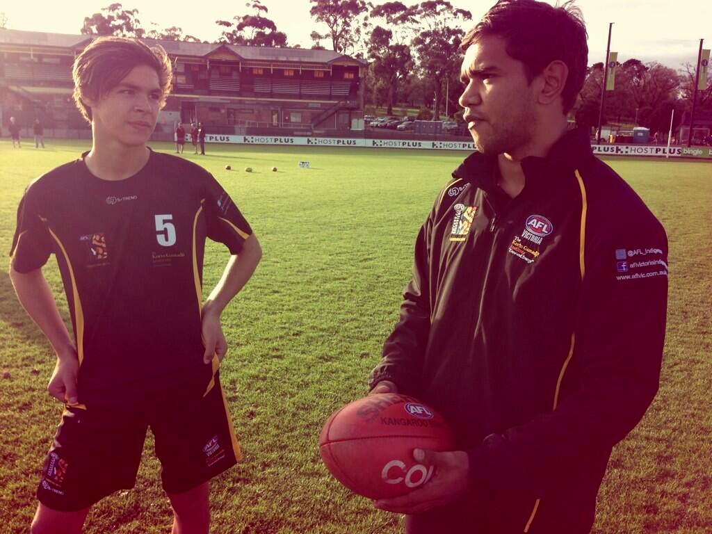 Neville Jetta with a Laguntas participant at the ME Bank Centre
